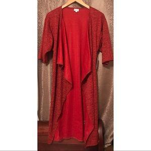 LuLaRoe Red Shirley Open Cardigan Kimono Sz Small